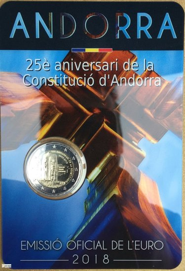 2 euro Andorra 2018 - 25 years constitution BU FDC
