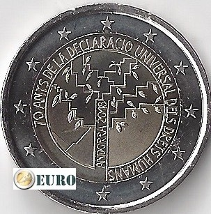 2 euro Andorra 2018 - 70 years human rights UNC
