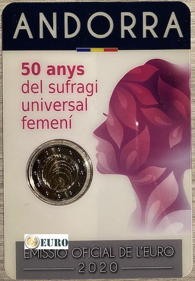 2 euro Andorra 2020 - 50 years of women's suffrage BU FDC Coincard