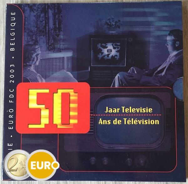 Euro set BU FDC Belgium 2003 50 years Television