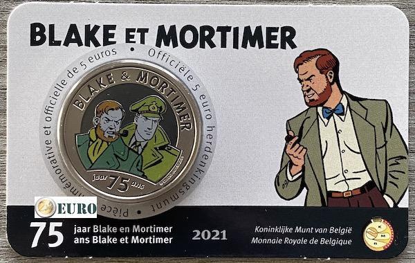 5 euro Belgium 2021 - Blake and Mortimer BU FDC Coincard Coloured