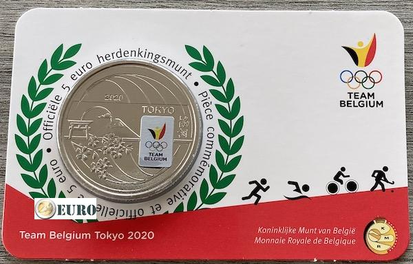5 euro Belgium 2021 - Team Belgium Tokyo BU FDC Coincard Coloured
