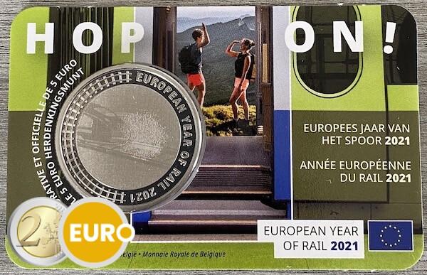 5 euro Belgium 2021 - European Year of Rail BU FDC Coincard